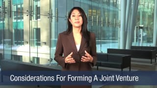 Video Considerations For Forming A Joint Venture
